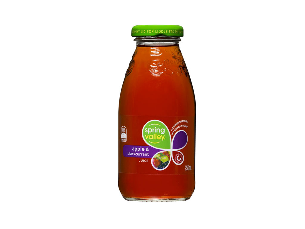 spring valley apple blackcurrant juice bottle 350ml